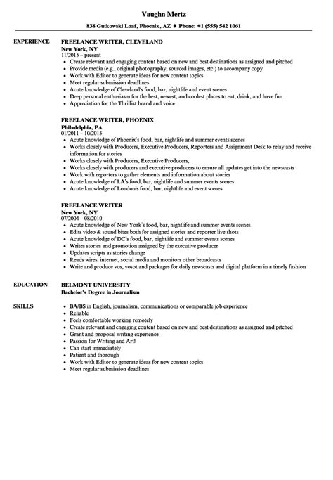 Freelance Writer Resume No Experience by Great Resume Sle Work Experience Pictures Gt Gt Exles