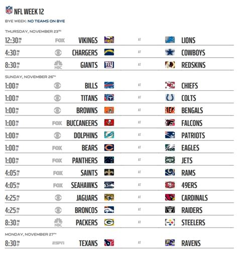 printable nfl schedule regular season 2017 nfl 2017 schedule week 12 regular season