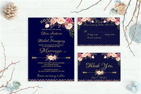 printable wedding invitations gold navy wedding invitation printable wedding invitation