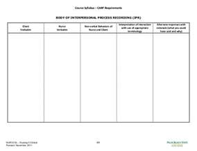 Process Recording Template by Course Syllabus