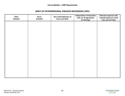 process recording template course syllabus
