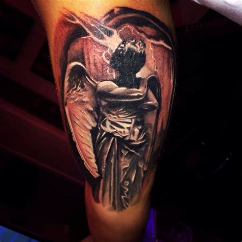 dark angel tattoo black grey done by raphael