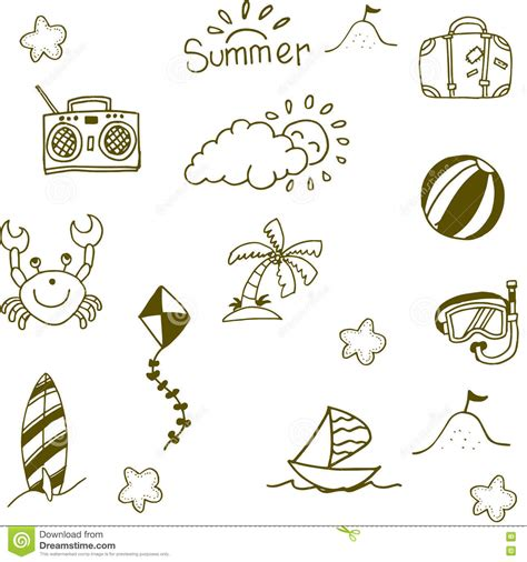 doodle summer doodle of summer icon set stock vector image 71836042