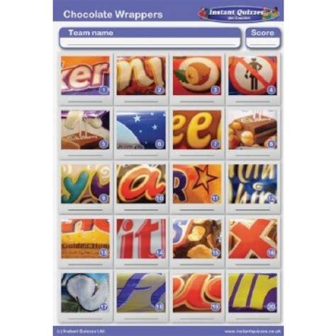 printable chocolate quiz uk chocolate bar wrappers picture quiz round pr770