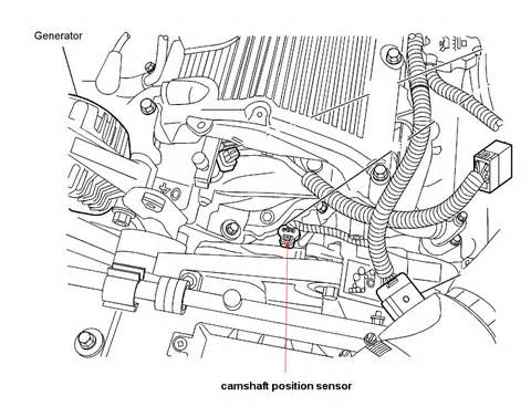 where is 2010 chevy traverse camshaft position sensor