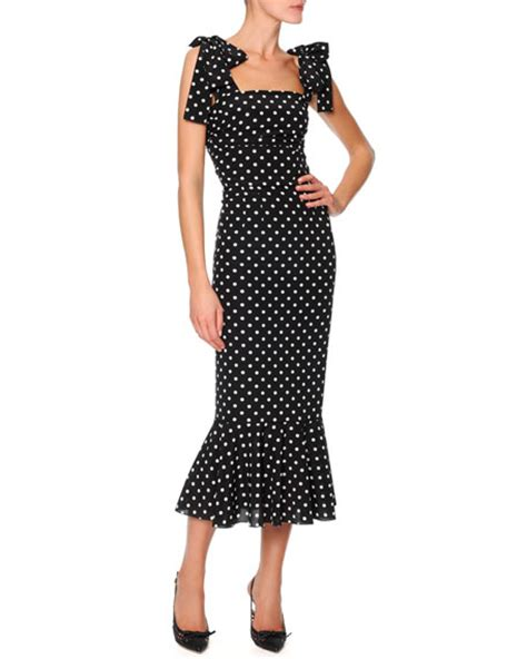 Black White Dot Dress W8179uzi D dolce gabbana bow shoulder flounce hem polka dot dress