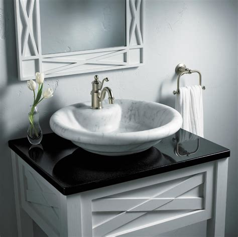 Sink Bowl On Top Of Vanity Bathroom Inspiring Bathroom Remodeling Idea With Small White Vanity Designed With Black Top Plus