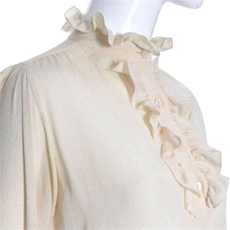 vintage ruffle blouse ysl top 1970s vintage yves laurent silk blouse