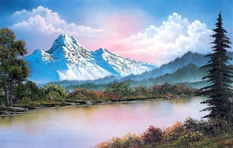 bob ross painting sky wallpaper forest the sky water clouds snow trees