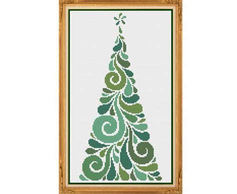 abstract tree pattern modern christmas tree counted cross stitch pattern x