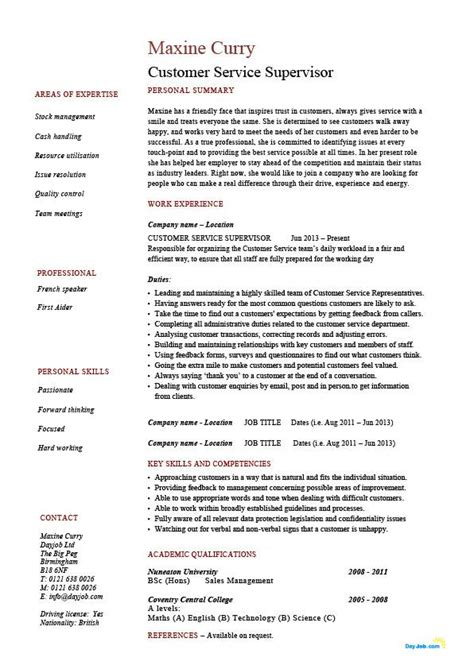 customer service supervisor resume managing people