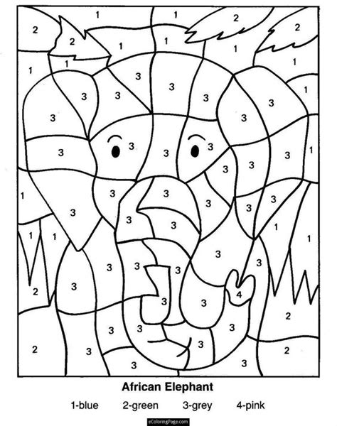 printable color by number color by numbers elephant coloring pages for