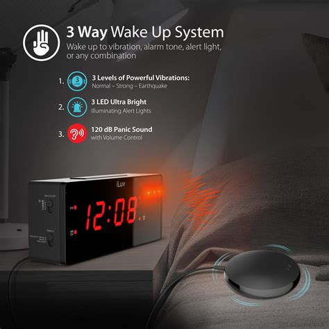 timeshaker wow by iluv loud dual alarm clock with vibrating bed shaker alert light