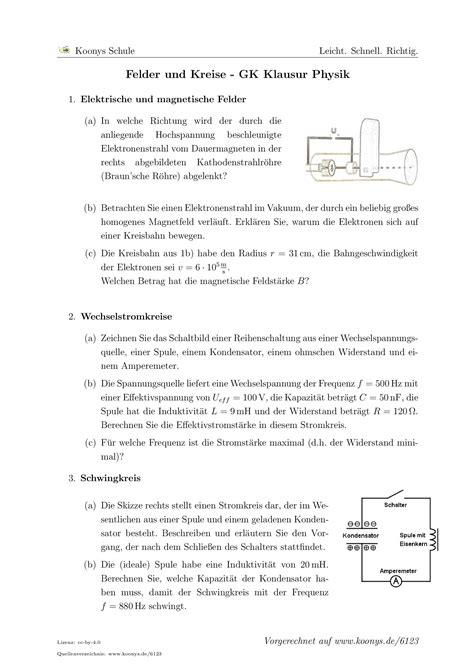 Aufgaben Felder und Kreise - GK Klausur Physik mit