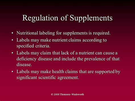supplement regulation the water soluble vitamins ppt