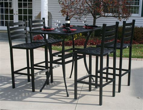 Ansley Luxury 4 Person All Welded Cast Aluminum Patio Patio Furniture Bar Set