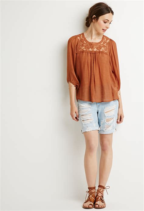 Blouse Peasant forever 21 contemporary embroidered peasant blouse in orange lyst
