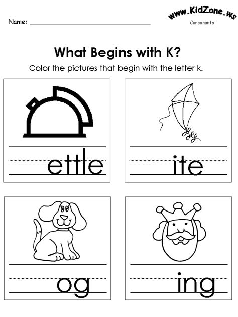colors that start with k color the pictures beginning letter sounds