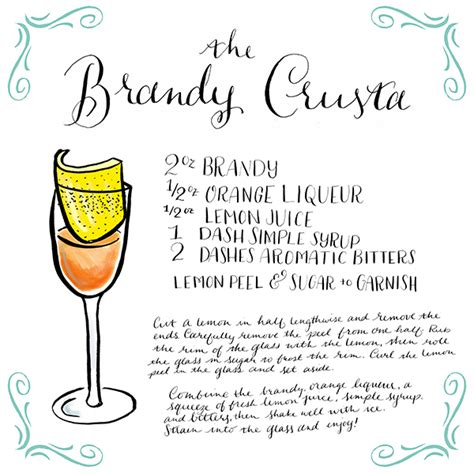 cocktail recipe cards friday happy hour the brandy crusta