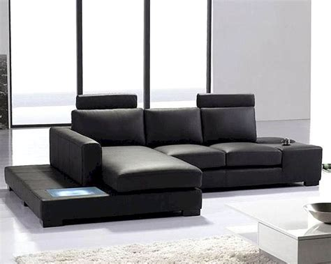2pc black leather sectional sofa set 44lt35minibhl