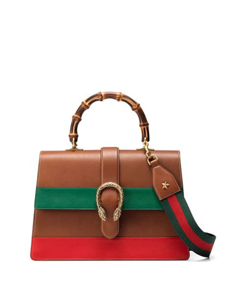 Gucci Dionysus Stripe Bamboo Top Handle Summer gucci dionysus striped bamboo top handle bag cuir green
