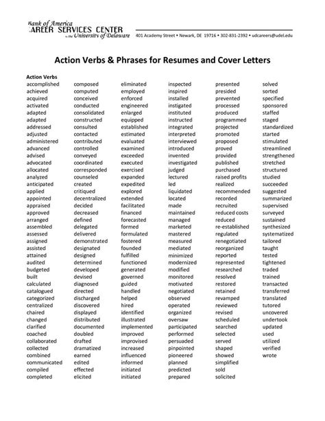 verbs phrases for resumes and cover letters education lesson plans