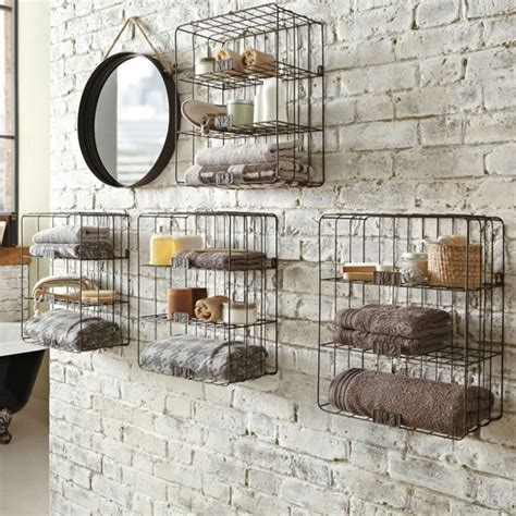 Wire Bathroom Shelves 1000 Images About Second Bath On Grey Tiles Wire Wall Shelf And Tile