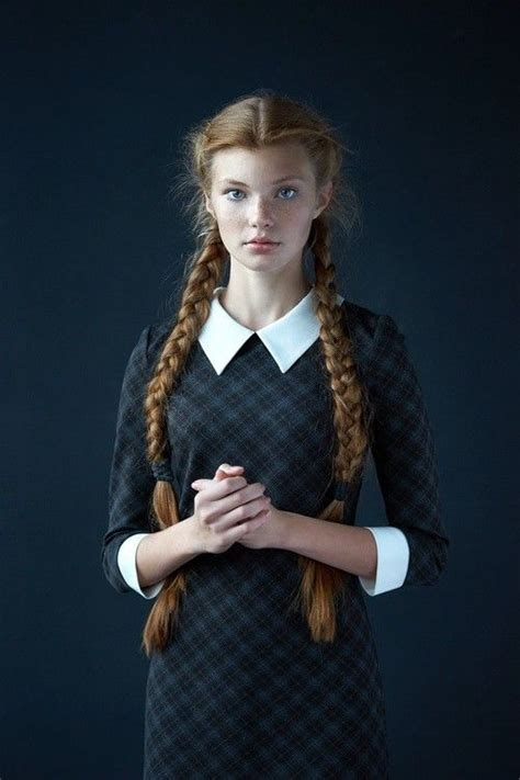 red head teens with corn rolls girl woman braid pigtail blue dress uniform school
