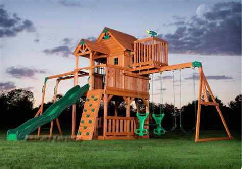 wooden swing sets with installation outdoor wooden swing set toy playhouse playset with slide