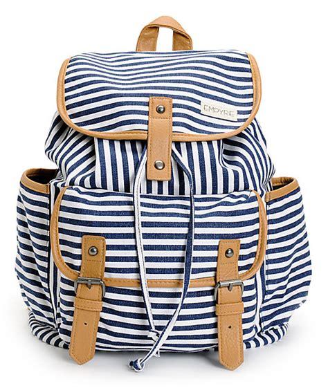 Arsenal Blue Stripe Backpack empyre emily navy stripe rucksack backpack