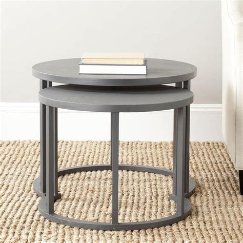 crate end table gray set of 2 charcoal grey nesting tables