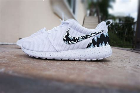customize roshe run shoes custom nike roshe run shoes white with grey and black