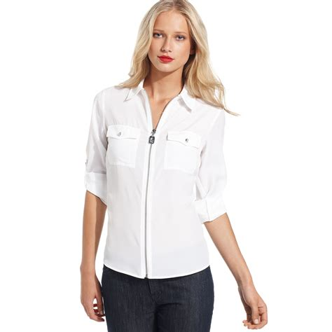 Sleeve Zip Front Shirt michael kors longsleeve zipfront work shirt in white lyst
