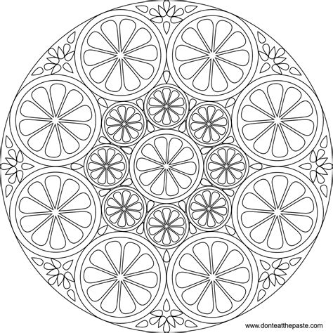 don t eat the paste citrus mandala to color