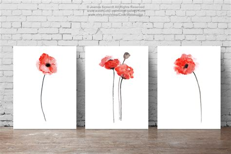 Setelan Flower Abstract Lucia poppies set of 3 abstract flower painting watercolor