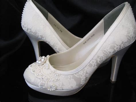 wedding shoes ivory or white bridal shoes with lace and