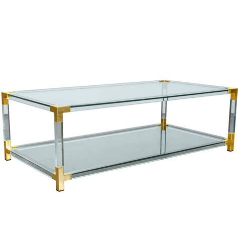 Lucite And Brass Coffee Table Modernist Two Tier Maison Jansen Lucite And Brass Cocktail Table At 1stdibs