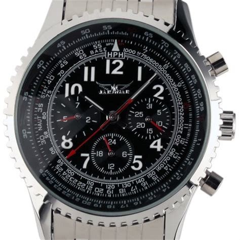 Ess Luxury Stainless Steel Automatic Mechanical Wm144 Si ess gents black self wind up mechanical aviator