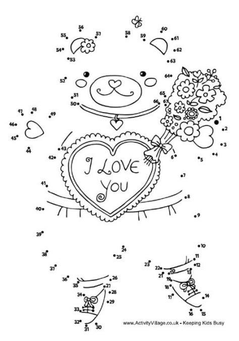 printable valentine dot to dot valentine teddy dot to dot valentines pinterest