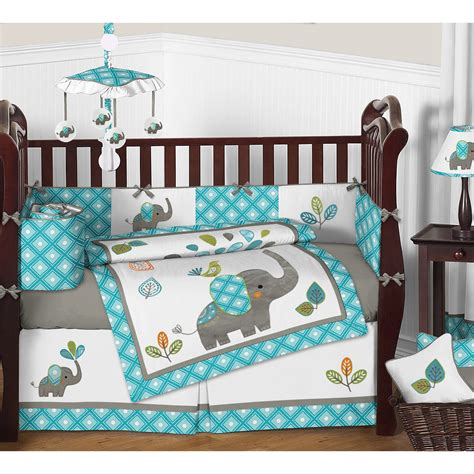 sweet jojo designs mod elephant 9 piece crib bedding set