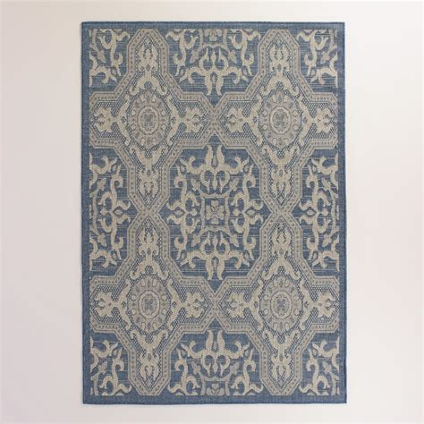 World Market Outdoor Rugs 5 X7 Blue And Gray Sufi Tiles Indoor Outdoor Rug World Market