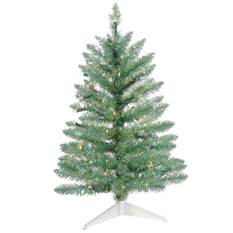 2 5 foot turquoise pine christmas tree all lit lights