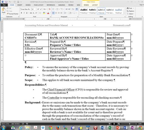 policy and procedure templates policy and procedure template microsoft word free word sop