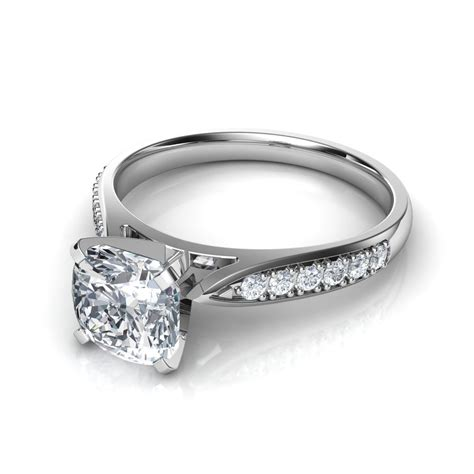 Cushion Engagement Rings by Cathedral Pave Princess Cut Engagement Ring