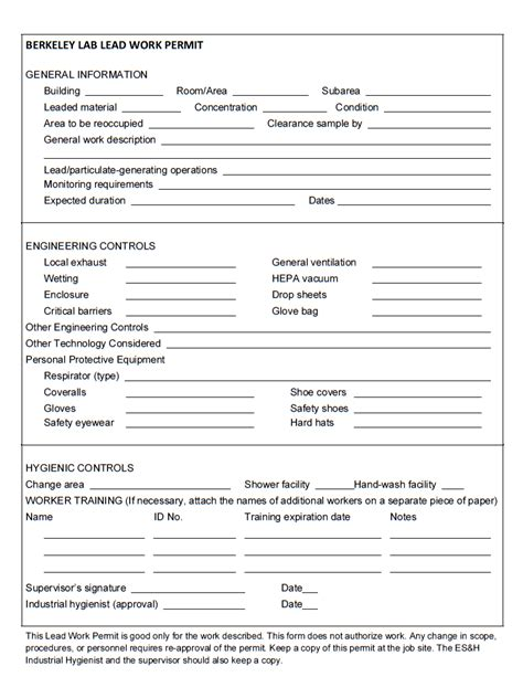 work permit template work permit forms template images