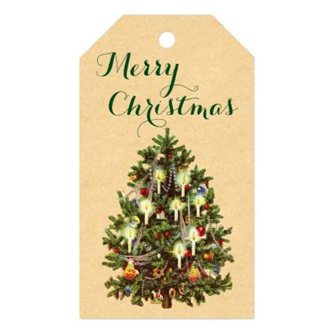 vintage christmas tree holiday gift tags zazzle