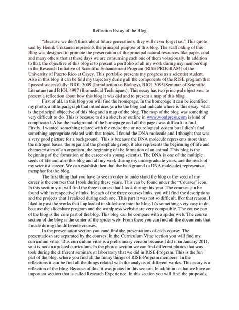 Class Essay by Reflection Essay Of The