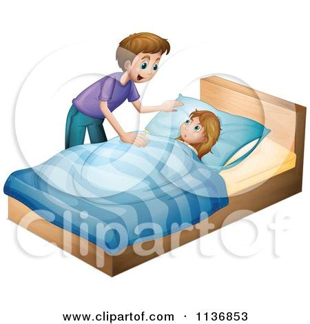 tuck into bed cartoon of a boy sitting up in bed royalty free vector
