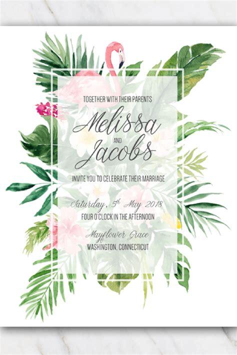 tropical flamingo wedding invitation template in 2019 free templates wedding invitations
