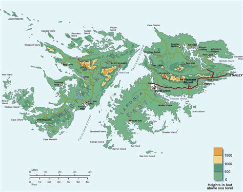 map of islands topographic map of falkland islands